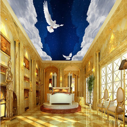 Wholesale Pigeon Sound - Free Shipping 3D Stereo Custom Fantasy Sky Pigeons Hanging Ceiling Mural Living Room Bathroom Restaurant Living Room Wallpaper