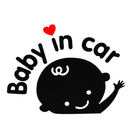 Wholesale Vinyl Materials - Hot! 3D Cartoon Car Stickers Reflective Vinyl Styling Baby In Car Warming Car Sticker Baby on Board On Rear Windshield CEA_30W