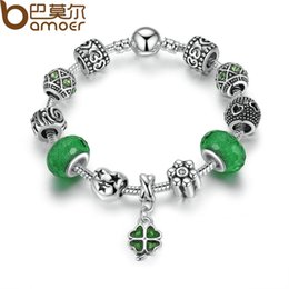 Wholesale Acrylic Glass Beads - Pandora Style Silver Charm Bracelet Green European Glass Beads Clover Pendant Bracelets for Women Jewelry PA1487