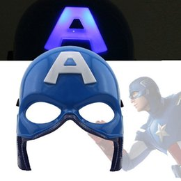 Wholesale Adult Captain America Mask - Halloween Mask Captain America Half Face LED The Avengers Masquerade Luminous Mask Decoration Christmas Toy LED Glow Party Adult