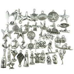 Wholesale Marines Charms - 300pcs Mini Marine Animals Pendant Charms Starfish Shell Seahorse Metal Accessories Pendant For DIY Necklace Bracelet Jewelry Making