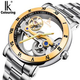 Wholesale Hollow Skeleton - 2017 NEW!Original IK 50M waterproof watch double face hollow out fashion skeleton automatic men mechanical self wind brand swimming