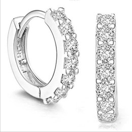 Wholesale Cheap Fashion Wholesale For Girls - fashion jewelry hoop earrings 925 silver plated earring with zircon wedding engagement gift for women girls jewelry cheap