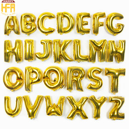 Wholesale Wholesale Stick Letters - 16Inch Letter Balloons Metallic Balloon Sticks Happy Birthday Balloons Love Balloon For Birthday Wedding Party Decoration