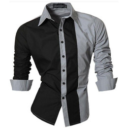 Wholesale Large Mens Dress Shirts - Wholesale- Men Shirt 2016 Brand Shirts Men Casual Male Slim Fit Fashion Spell Color Chemise Mens Camisas Dress Shirts Large Size 4XL