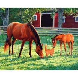 Wholesale Horse Cloth - Cat and Horse Full Drill DIY Mosaic Needlework Diamond Painting Embroidery Cross Stitch Craft Kit Wall Home Hanging Decor