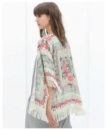 Wholesale Chiffon Shawl Cardigan - Women Chiffon Cardigan Female Summer Tassel Kimono Flower shawl Tops batwing sleeve Blouse Floral Print Blusas