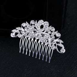 Wholesale Wholesale Rhinestone Hair Combs - 2017 Rushed Sale New Woman's Crystal Silver Plated Heart Petal Flowers Bling Hair Comb Tiara Prom Wedding Accessories