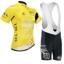 Jersey tour francia amarillo online-Tour de France 2017 kit de jerset de ciclo amarillo / maillot ciclismo Ropa de ciclo de bicicleta Ropa Ciclismo / Bicicleta de ciclismo transpirable Jersey de ciclismo