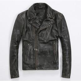 Wholesale Diagonal Zipper Men S - 2017 Men Retro Vintage Genuine Leather Biker Jacket Black Diagonal Zipper Slim Fit Short Real Cowhide Biker Coat FREE SHIPPING