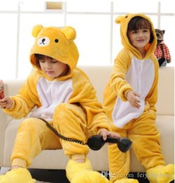 Wholesale Bear Suit Halloween Costume - Lovely Bear Kigurumi Pajamas Baby Animal Suits Cosplay Outfit Halloween Costume Adult Garment Cartoon Jumpsuits Child Unisex Sleepwear