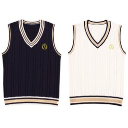 Wholesale Tank Tops Styles For Men - Cosplay Japanese School Uniform Sweaters Vest For Girls Boys British Student Uniforms Embroidery V neck Vest Sweaters Tank Top