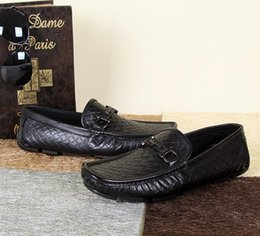 Wholesale Italian Slingbacks - New Arrival Brand Designer Genuine Leather Business Men Dress Shoes Men Slip-on Oxford Smoking Slipper Shoes Italian Man Slingbacks Flats