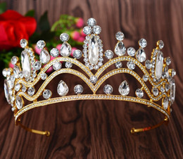 Wholesale Girls Pageant Crowning Dresses - Nice The Actual Shooting Ladies Girl Tiara Crown Jewelry Pageant Rhinestone Sparkling Evening Prom Party Dresses Accessories Supplie