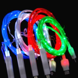 Wholesale El Usb - 1m 3FT Visible Flowing Led Luminous EL Light Micro V8 usb data sync charger cable for samsung s3 s4 s7 for phone 5 6 7 plus