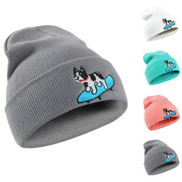 Wholesale Dog Gentleman - 2017 burst image dog hats fashion men and women wool hat hip hop creative dog embroidery knitted hat