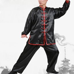 Wholesale Kung Fu Clothing Women - High Quality Chinese Wushu Kung Fu Uniform Martial Arts Clothing Sets Long-Sleeved Tai Chi Costumes for Men Women UA0246