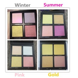 Wholesale Hot Pink Sand - New Hot Makeup Winter Summer Solstice Highlighter Palette 3D Bronzers & Highlighters 4 Colors Beauty Pink Golden sands DHL shipping+Gift
