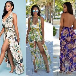 Wholesale Kimono Cheap - 2017 Hot Bohemian Maxi Rompers Long Casual Summer Dresses Cheap Plus Size Printed Chiffon Dresses Halter Neck Sexy Backless Split