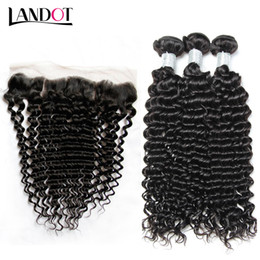 Wholesale Indian Deep Curly Weave - Brazilian Virgin Hair Weaves With Lace Frontal Closure 3 Bundles Peruvian Indian Malaysian Cambodian Deep Jerry Curly Human Hair Closures