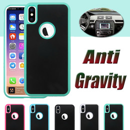 Wholesale Sticky For Iphone - Anti-gravity Case Nano Suction Magic Phone Shell Anti-fall Self-protection Sticky Cover For iPhone X 8 7 Plus 6 6S 5S 5 Samsung Note 8 S8