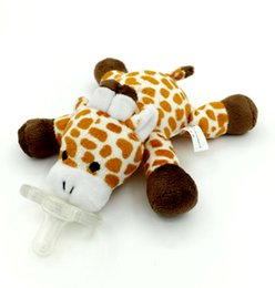 Wholesale Infant Giraffe - Wholesale-Baby Pacifier Animal Pattern Giraffe Soft Silicone Funny Pacifiers Infant Pacifier Plush Toy with BB Sounder Elephant Lion 20cm