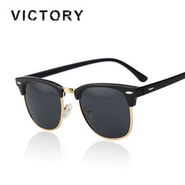 Wholesale Wholesale Half Shaded Sunglasses - Wholesale-Classic Half Rims Mirror Fashion Sunglasses Men Women UV Protect to 100% Rivet Sun Glasses Male Female Shades Vintage Hot