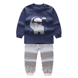 Wholesale Underwear 24 - AbaoDo ins kids clothing set 100% cotton long sleeve underwear set baby pajamas infant home clothes chindren nighty suit drop ship A007