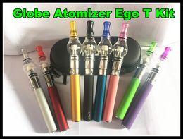 Wholesale Ego Glass Dome - Glass Globe Atomizer EGo T wax vaporizer ego e cigarette pen glass dome vaporizer pen ego-T battery e cigarette device smoking starter kit