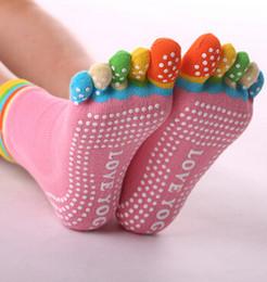 Wholesale Yoga Pilates Toes Socks - Five-Toe Yoga Socks Indoor Sports Yoga Socks Cotton Sports Pilates Socks Anti Slip Women Gym Exercise Non Slip stockings Cotton Sport PVC