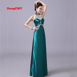 Wholesale Modern Cotton Dresses - 2017 new fashion long design robe de soiree courte halter-neck formal Beading party Prom Dresses