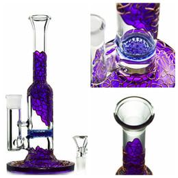 Wholesale Violet Glass - Purple Color Bongs Honeycomb percolator Water Bongs violet gold coloured glaze Heady Glass Straight Type glass bong beaker base WP533
