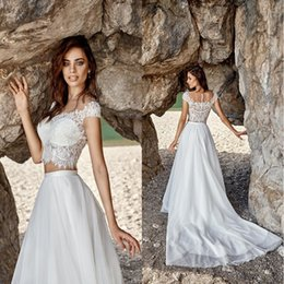 Wholesale Cheap Romantic Dresses - Romantic Summer Beach Two Pieces Wedding Dresses 2017 Cheap Boho Lace Custom Made Bohemian Chiffon Bridal Gown robe de soiree