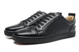 Wholesale Mens Casual Shoes Low Price - All Black Leather Red Bottom Sneakers Low Cut Python Snakeskin Sneakers Mens Womens Casual Shoes Brand New Wholesale Price 36-46