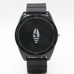 Wholesale Ad Round - Fashion Women Men's Unisex 3 Leaves leaf style Silicone Strap Analog Quartz Wrist watch AD