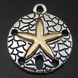 Wholesale Jewelry Making Starfish Charms - Wholesale-15pcs pack Antique Silver Alloy Round Starfish Necklace Charms Pendant Jewelry Making Handmade Crafts Women Gift 22*19*2mm 50080