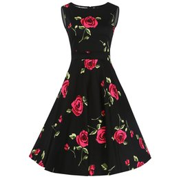 Wholesale Rose Swing - Sweet Cute Women Sleeveless Knee-length 1950s 20s Vintage Retro Dress Bow-knot Swing Dress Floral Print Rose Summer Dresses