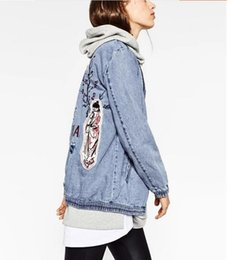 Wholesale Cool Jacket Designs - New Women Fashion Spring Autumn Embroidery Patch Denim Bomber Jacket Coats Girls Long Sleeve Casual Cowboy Suit Ladies Cool Punk Jeans Coats