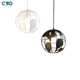 Wholesale Led Ceiling Lamp Globe - Modern Creative Globe Indoor Pendant Lights Black White Color Iron Pendant Lamps E27 Lampbase Bar Restaurant Hollow Ball Ceiling Fixtures