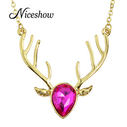 Wholesale Gold Deer Head Necklace - Wholesale-Niceshow Luxury Gold Color Long Chain with Colorful Crystal Costume Jewelry Deer Head Pendant Necklace Female Accessories
