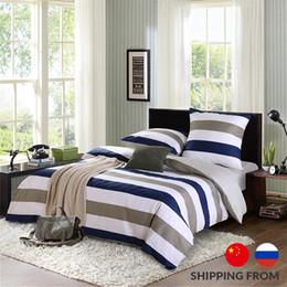 Wholesale Quilt Duvet Kids - Wholesale- bedding sets 4pcs stripe duvet quilt cover for king queen full twin size bedclothes 100%cotton cartoon bed linen kids bedsheet