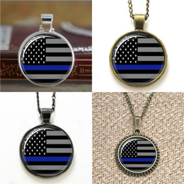 Wholesale flag photos - 10pcs Thin Blue Line American Flag Glass Photo Necklace keyring bookmark cufflink earring bracelet