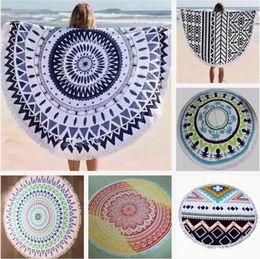 Wholesale Microfiber Quilt - Large Microfiber Beach Towels Datura Printed Round Sunscreen Tassel cover Beach Towel Serviette De Plage Blankets quilt Textiles Printing