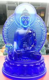 Statue del buddhismo online-Nuovo Buddha statua farmacisti lapis lazuli luce 7 colori blu verde bianco ambra smalto medicina guru Buddha buddismo statua nel paese