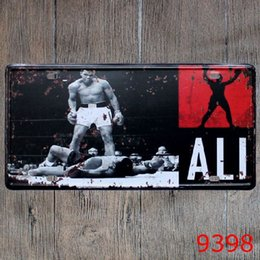 Wholesale Ali Box - Ali Boxing vintage embossed metal tin signs garage car plate licence number plate painting plaque picture 15x30cm