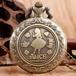 Wholesale Wonderland Necklace - Wholesale-Classic Alice in Wonderland Rabbit Flower Pocket Watch Necklace Pendant Women Ladies Hot Quartz Retro Bronze Fashion Chain Gift