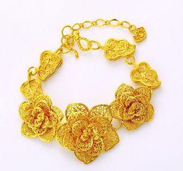 Wholesale 24k Gold Bracelets For Women - 2017 New Arrival Top quality 24k Gold plated Rose Flower leaf Bracelet for women Bride wedding gift
