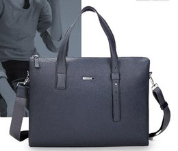 Wholesale Messenger Shoulder Bag Briefcase - Genuine Leather Men's Briefcase Blue Handbag Simple Men's Bag Shoulder Messenger Bag