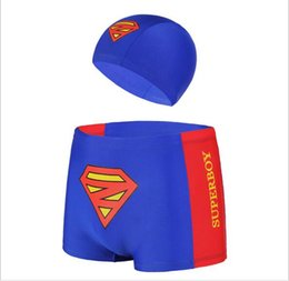 Wholesale Boys Swim Hat - Baby Boy Swimwear Cartoon Superman Swimming Trunks + HAT Boy Swimming Short Swimwear M L XL For 85-120cm Boy
