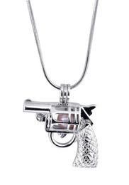 Encantos de jóias com pistola on-line-New Design Gun Gaiola Pingente, forma de Pistola Pérola Gem Beads Medalhão Pingente de Montagem, Jóias DIY Encantos Acessório P70